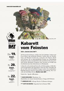 """Plakat nachts beim BAT: Kabarett vom Feinsten"""" 09/2019"""